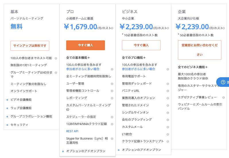 ZOOMの無料アカウントと有料アカウントの違い