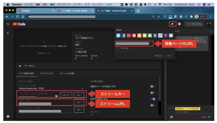 YouTubeライブストリーム情報
